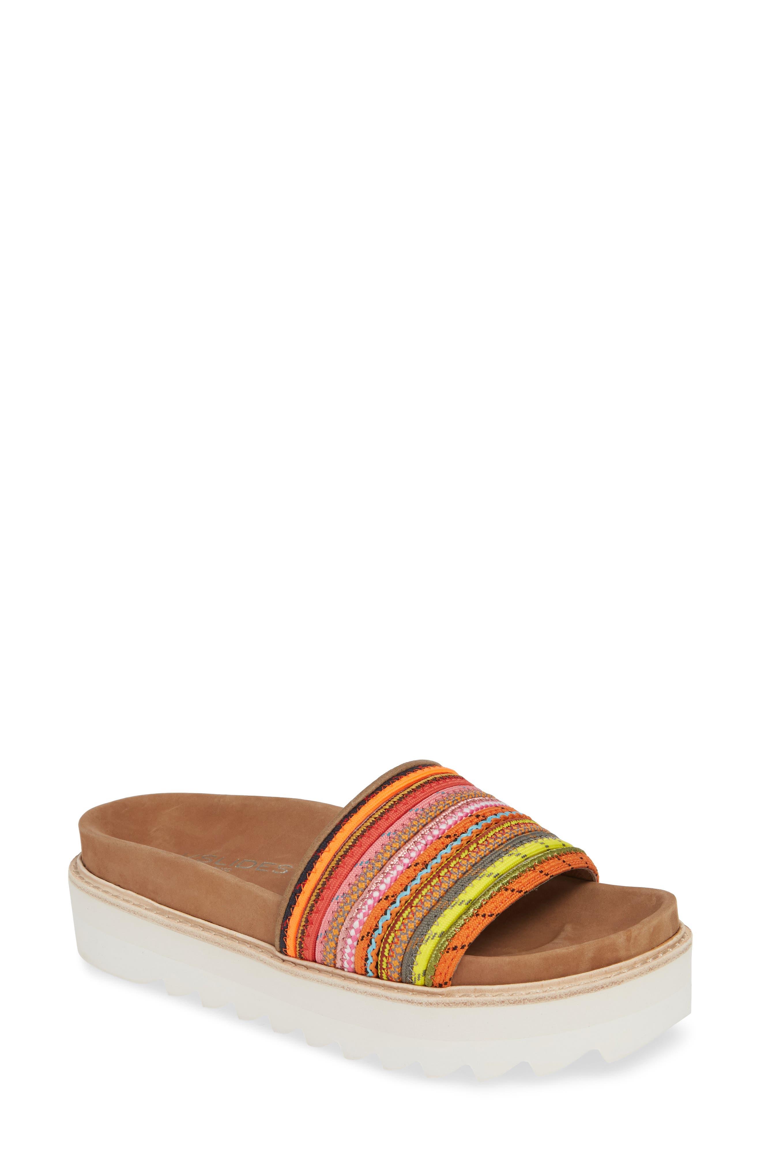 Jslides Lizzy Platform Slide Sandal, Pink