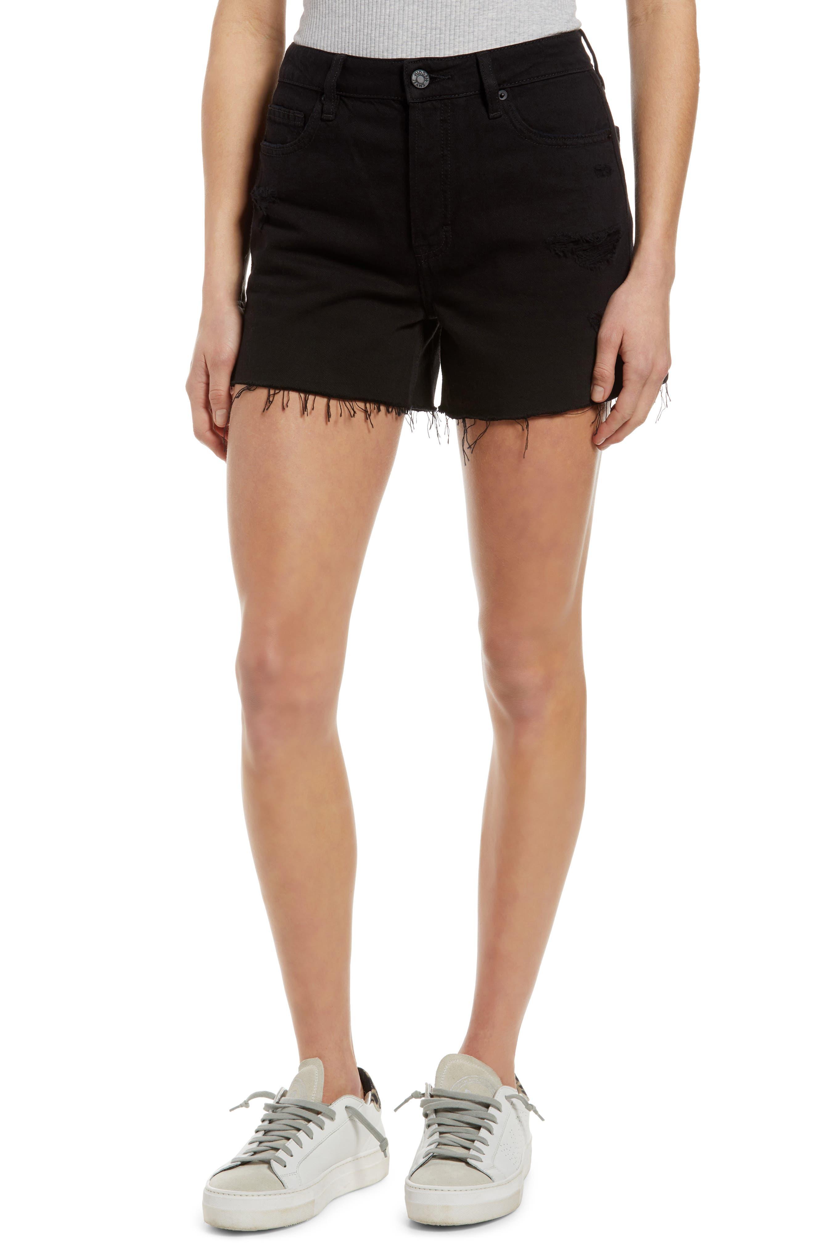 Grinded Side Slit Cutoff Denim Shorts