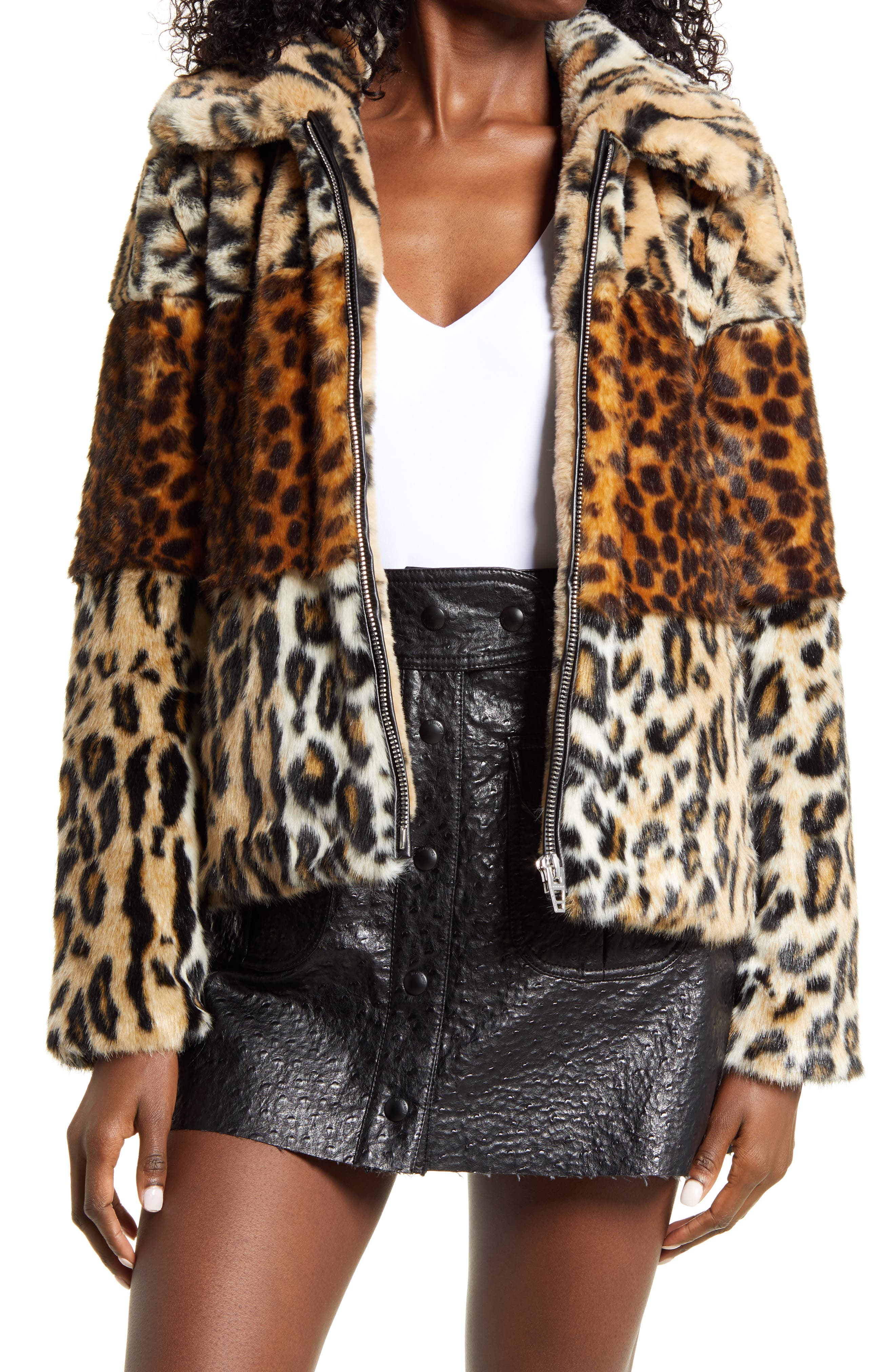 Women's Blanknyc Animal Print Faux Fur Jacket, Size Small - Brown