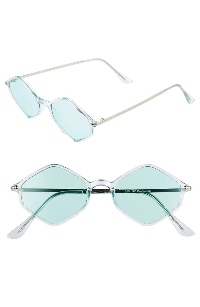 BP. 48mm Geometric Flat Front Sunglasses, Main, color, GREEN
