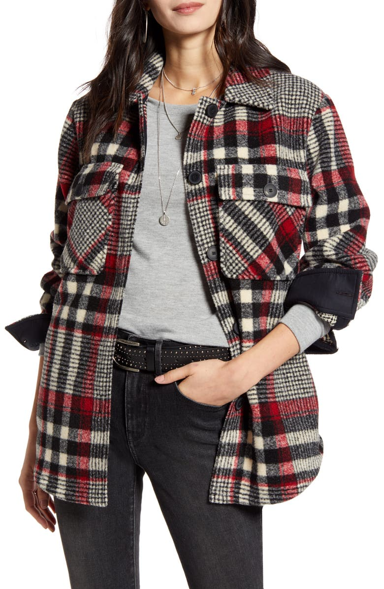 TREASURE & BOND Plaid Shirt Jacket, Main, color, BLACK- IVORY PLAID