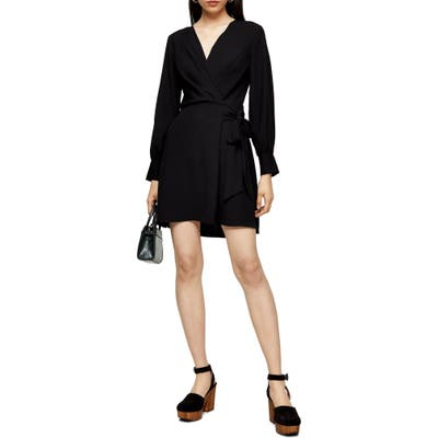 Topshop Faux Wrap Long Sleeve Minidress, US (fits like 10-12) - Black