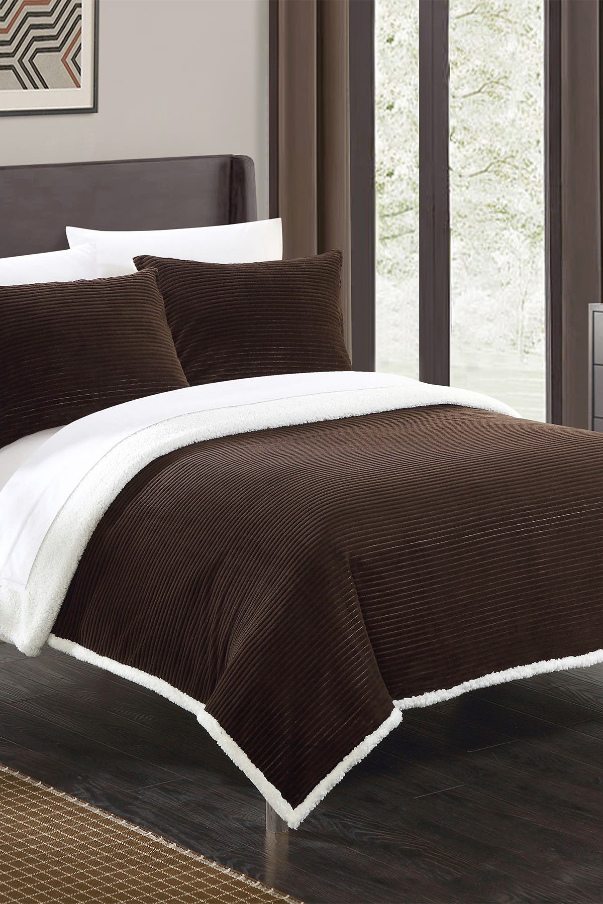 Chic Home Bedding Full/Queen Vargon Corduroy Textured Faux Shearling Blanket Set - Brown at Nordstrom Rack