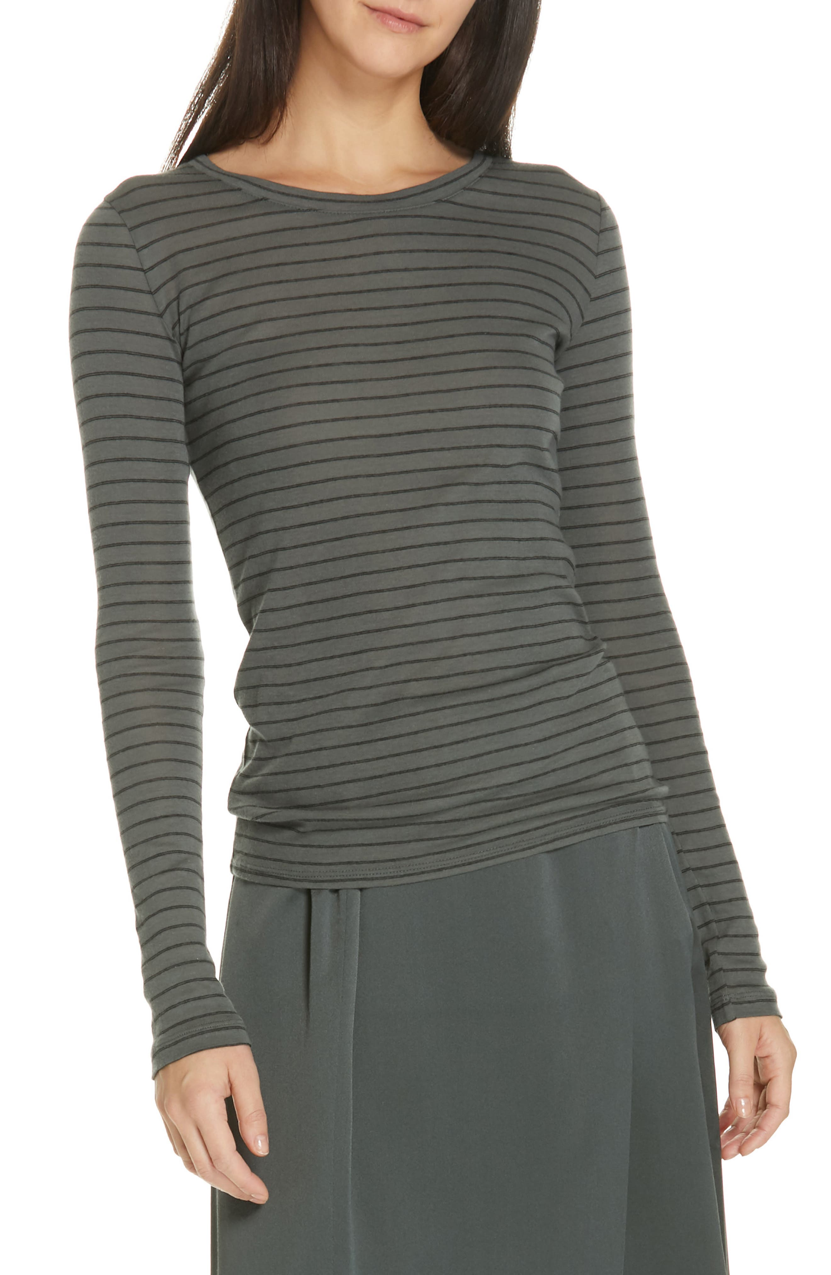 Double Pinstripe Top, Main, color, MINERAL STONE/ BLACK