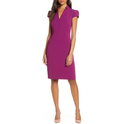 Tahari Star Neck Cap Sleeve Stretch Crepe Sheath Dress, Pink