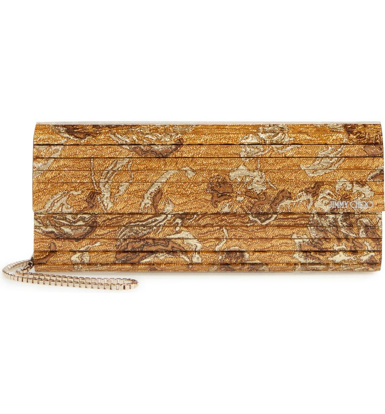 JIMMY CHOO Sweetie Brocade & Acrylic Clutch, Main, color, GOLD