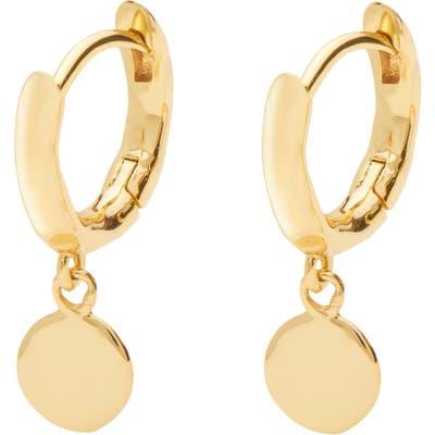 Gorjana Luca Disc Huggie Hoop Dangle Earrings