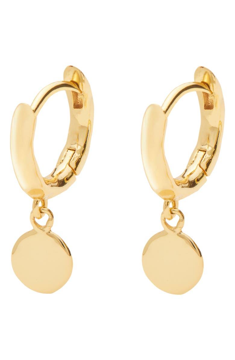 GORJANA Luca Disc Huggie Hoop Dangle Earrings, Main, color, GOLD