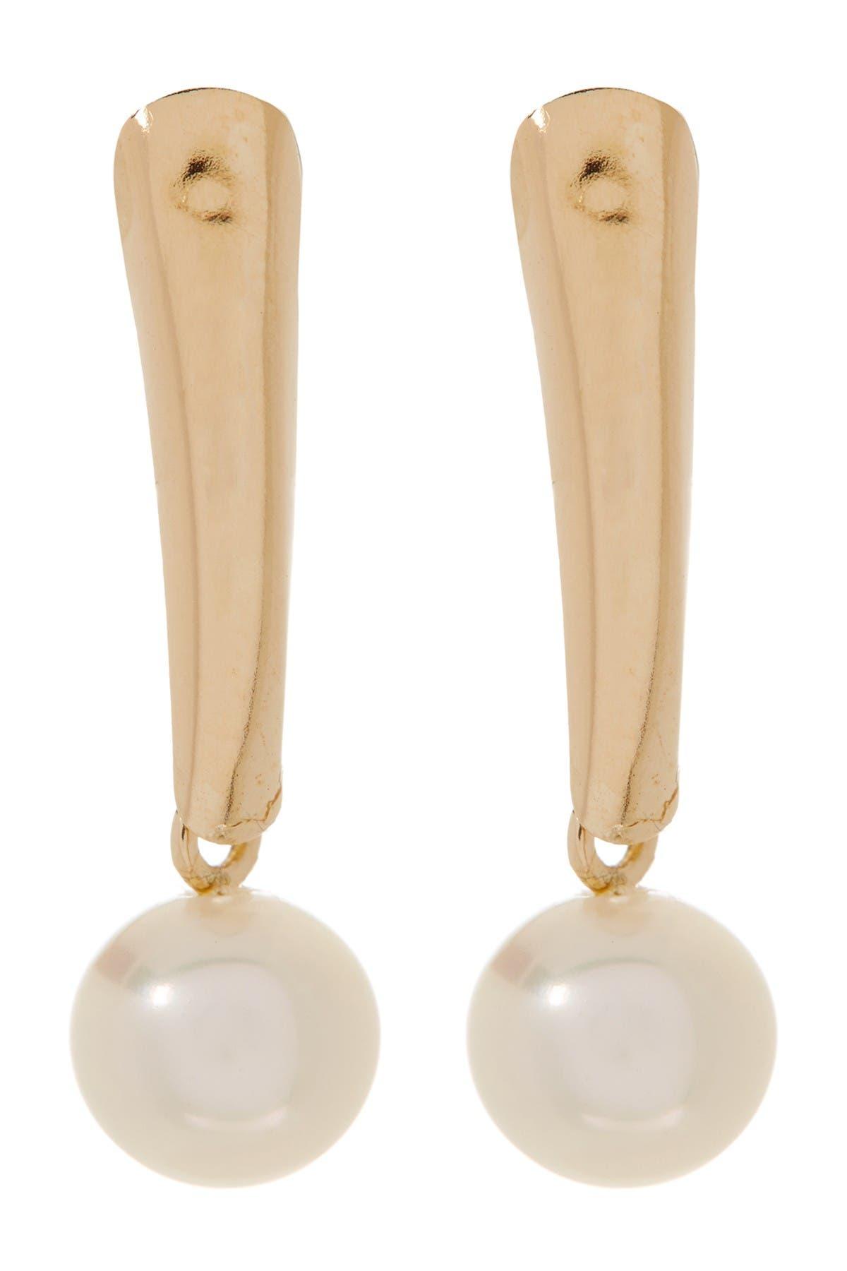 Image of Splendid Pearls 14K Yellow Gold 5.5-6mm White Freshwater Pearl Shield Drop Earrings