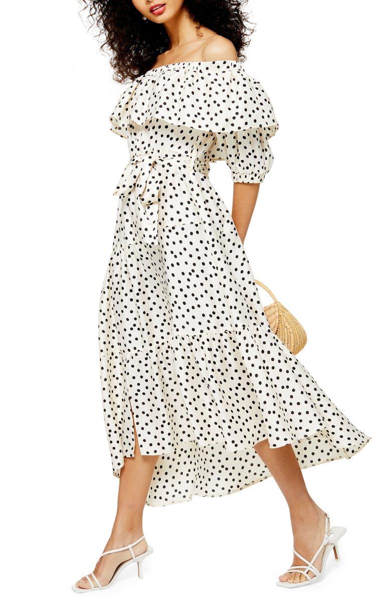 TOPSHOP Bardot Spot Print Asymmetrical Off the Shoulder Dress, Main, color, WHITE MULTI