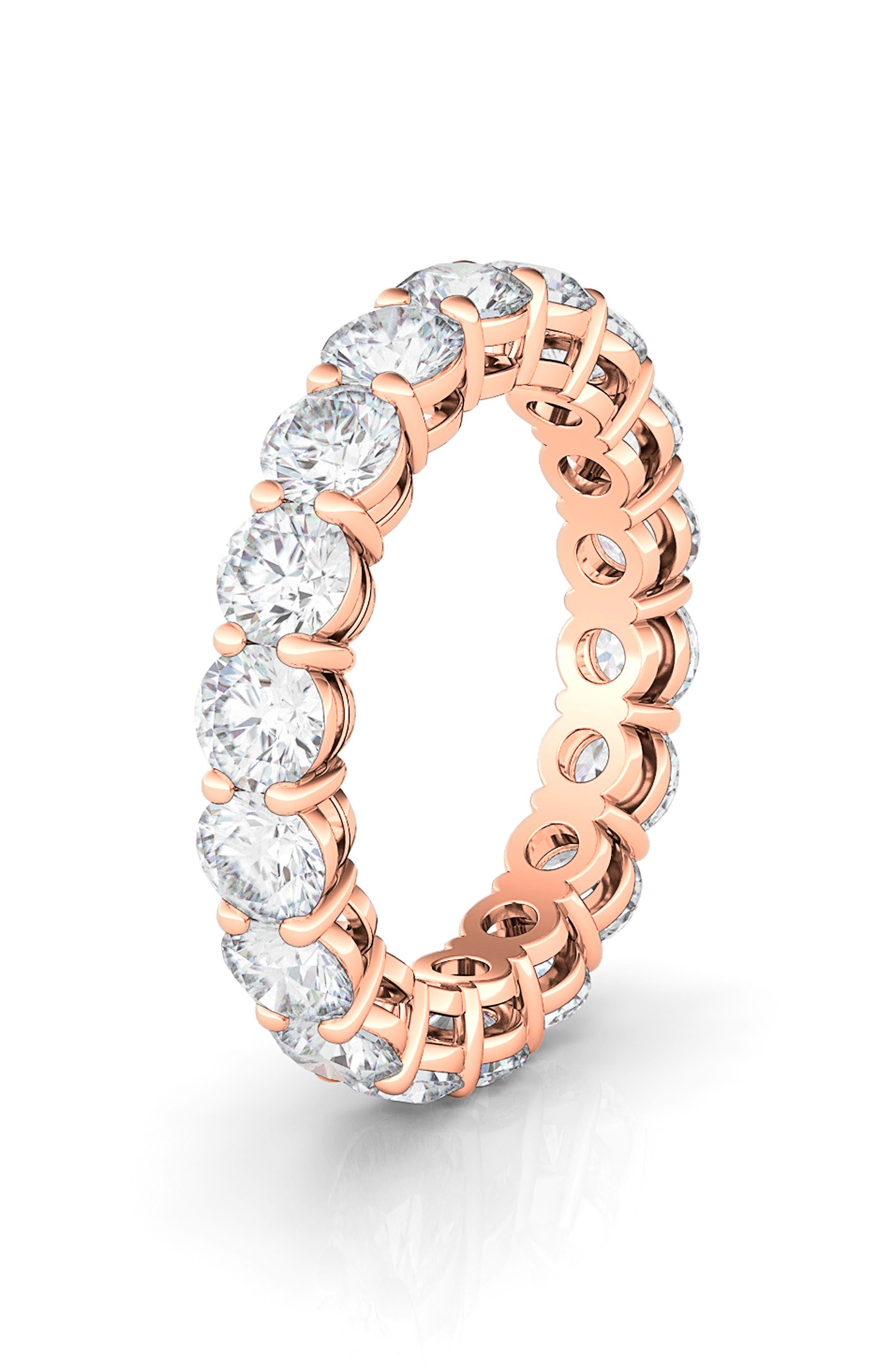 Round Cut 3.75Ct Lab-Created Diamond 18K Gold Eternity Band Ring