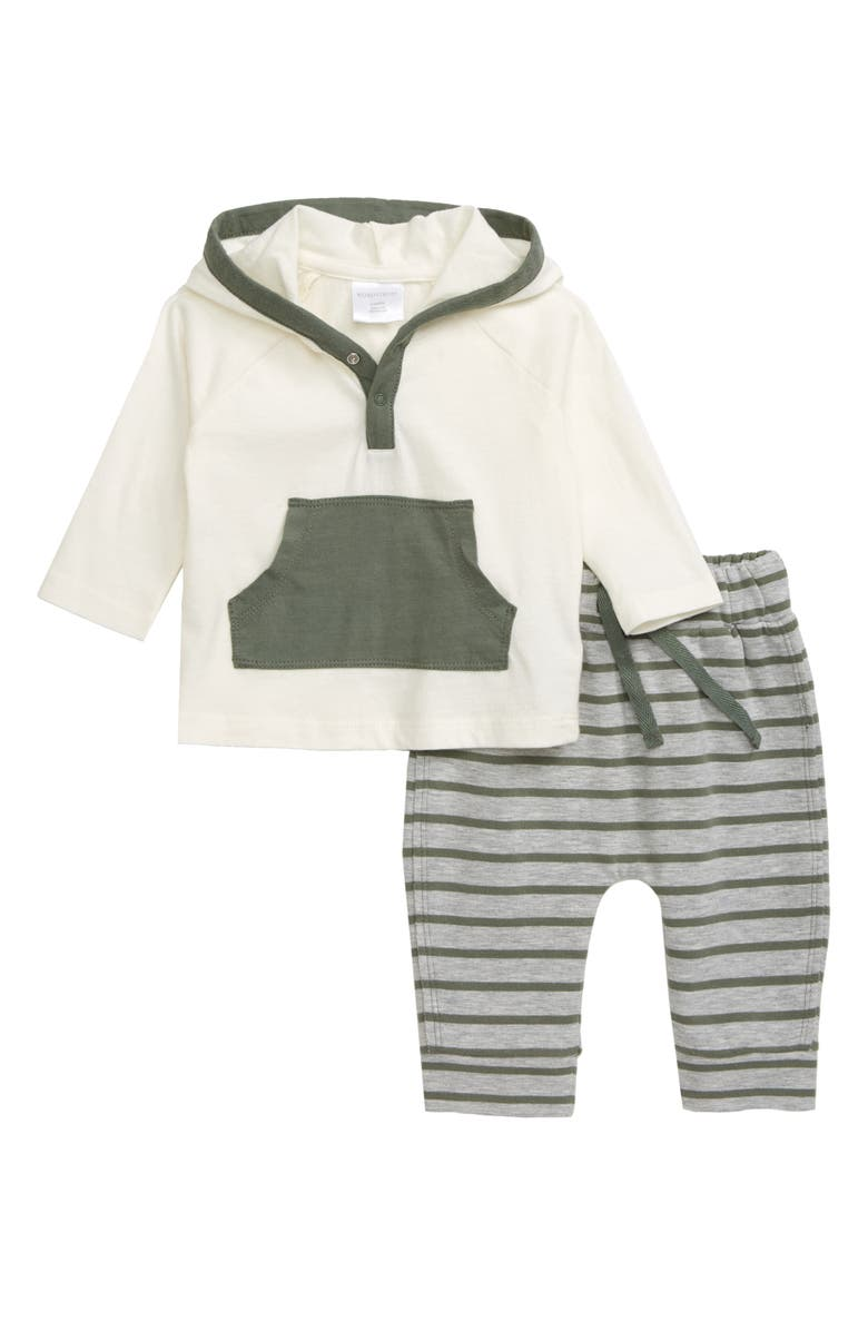 NORDSTROM BABY Hooded Henley Shirt & Sweatpants Set, Main, color, IVORY EGRET- GREEN STRIPE
