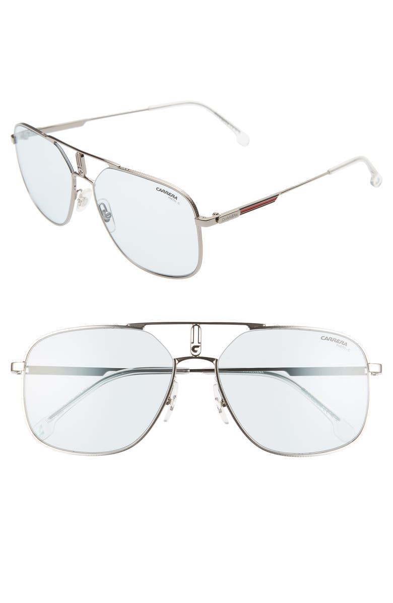 CARRERA EYEWEAR 59mm Navigator Sunglasses, Main, color, RUTHENIUM BLUE/ BLUE