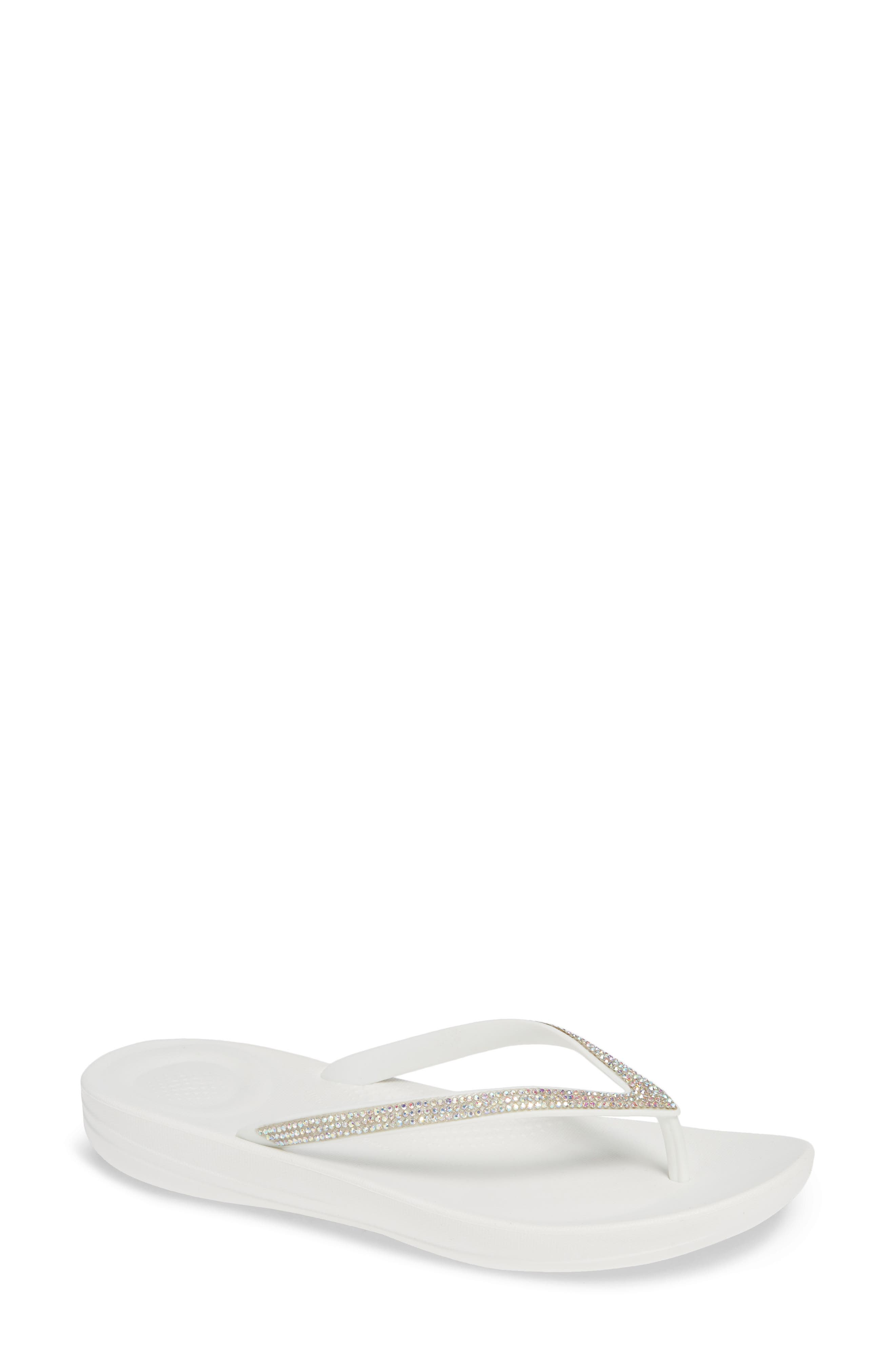 ,                             iQushion<sup>™</sup> Crystal Embellished Flip Flop,                             Main thumbnail 1, color,                             URBAN WHITE