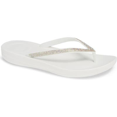 Fitflop Iqushion(TM) Splash Crystal Flip Flop, White
