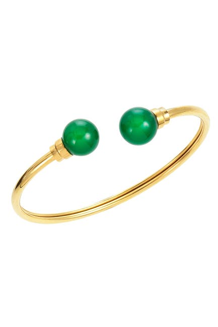 Image of Savvy Cie 18K Gold Plated Sterling Silver Green Agate Cuff Bracelet