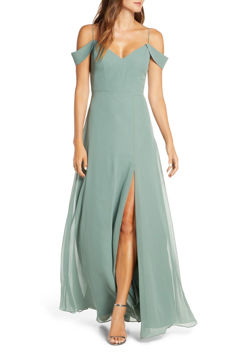 JENNY YOO Priya Cold Shoulder Chiffon Evening Dress, Main, color, EUCALYPTUS