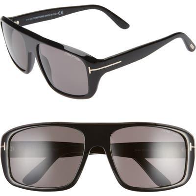 Tom Ford Duke 5m Square Sunglasses - Shiny Black/ Smoke