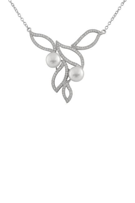 Image of Splendid Pearls Sterling Silver CZ & 8.5-9mm Freshwater Pearl Fancy Pendant