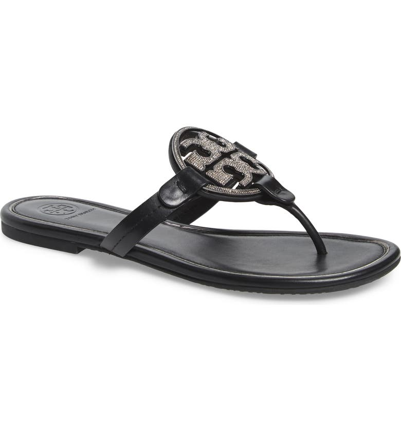 TORY BURCH Miller Crystal Logo Flip Flop, Main, color, 006