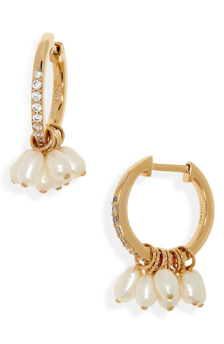NADRI Genuine Pearl Huggie Hoop Earrings, Main, color, 710