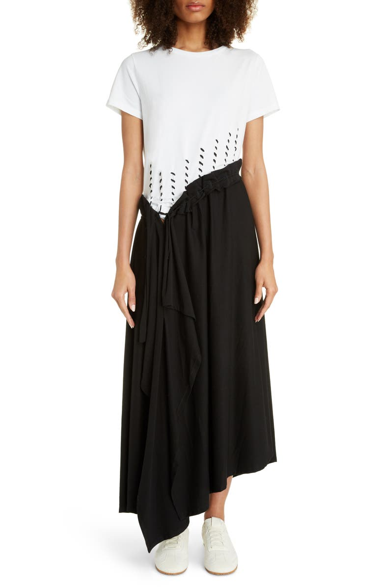 LOEWE Asymmetrical Jersey Midi Dress, Main, color, ECRU