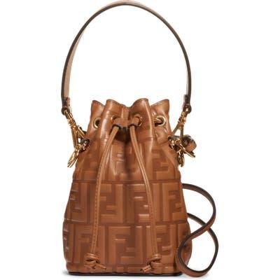 Fendi Mini Mon Tresor Logo Leather Bucket Bag - Brown