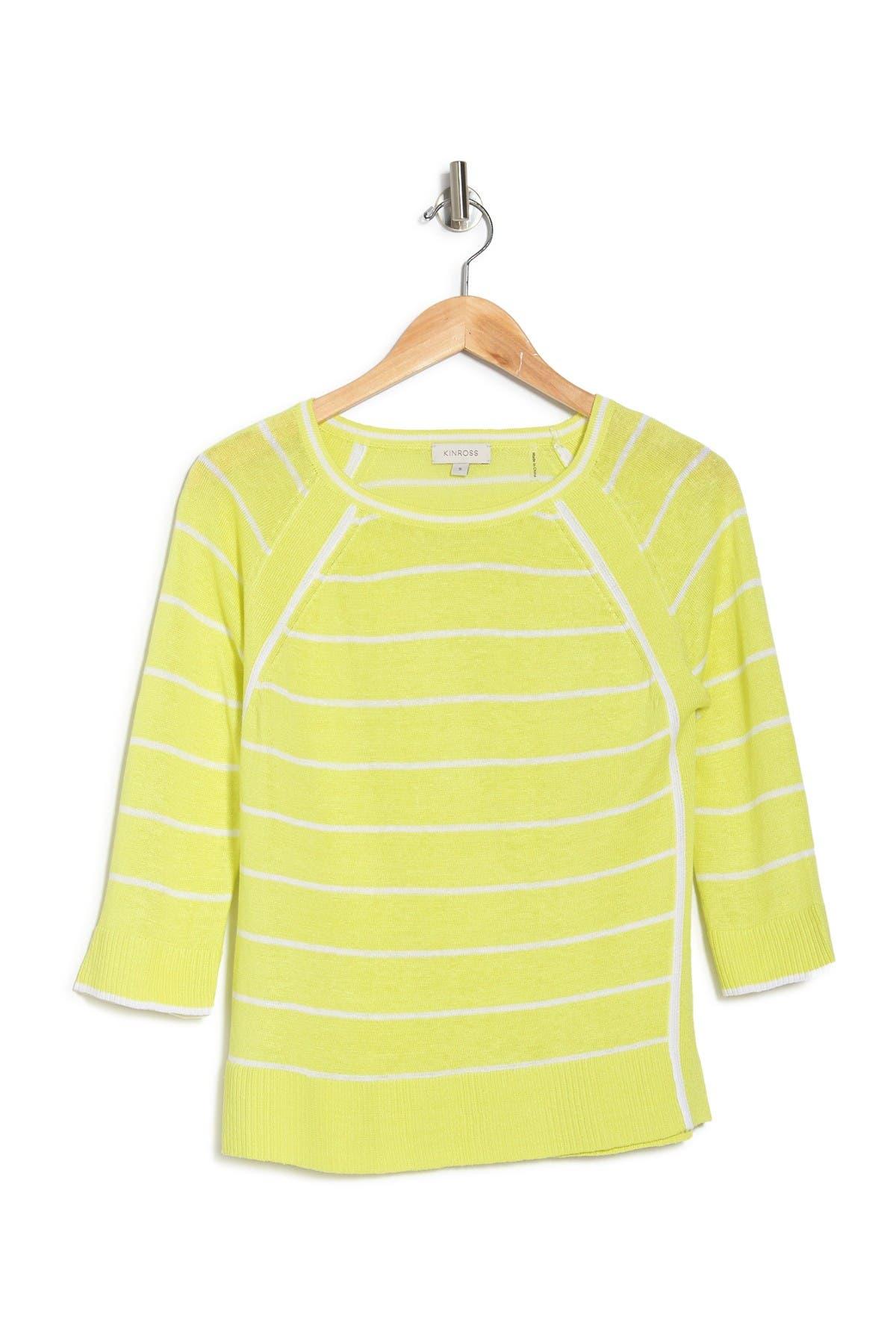 Image of Kinross Linen Knit Raglan Stripe Print Pullover Sweater