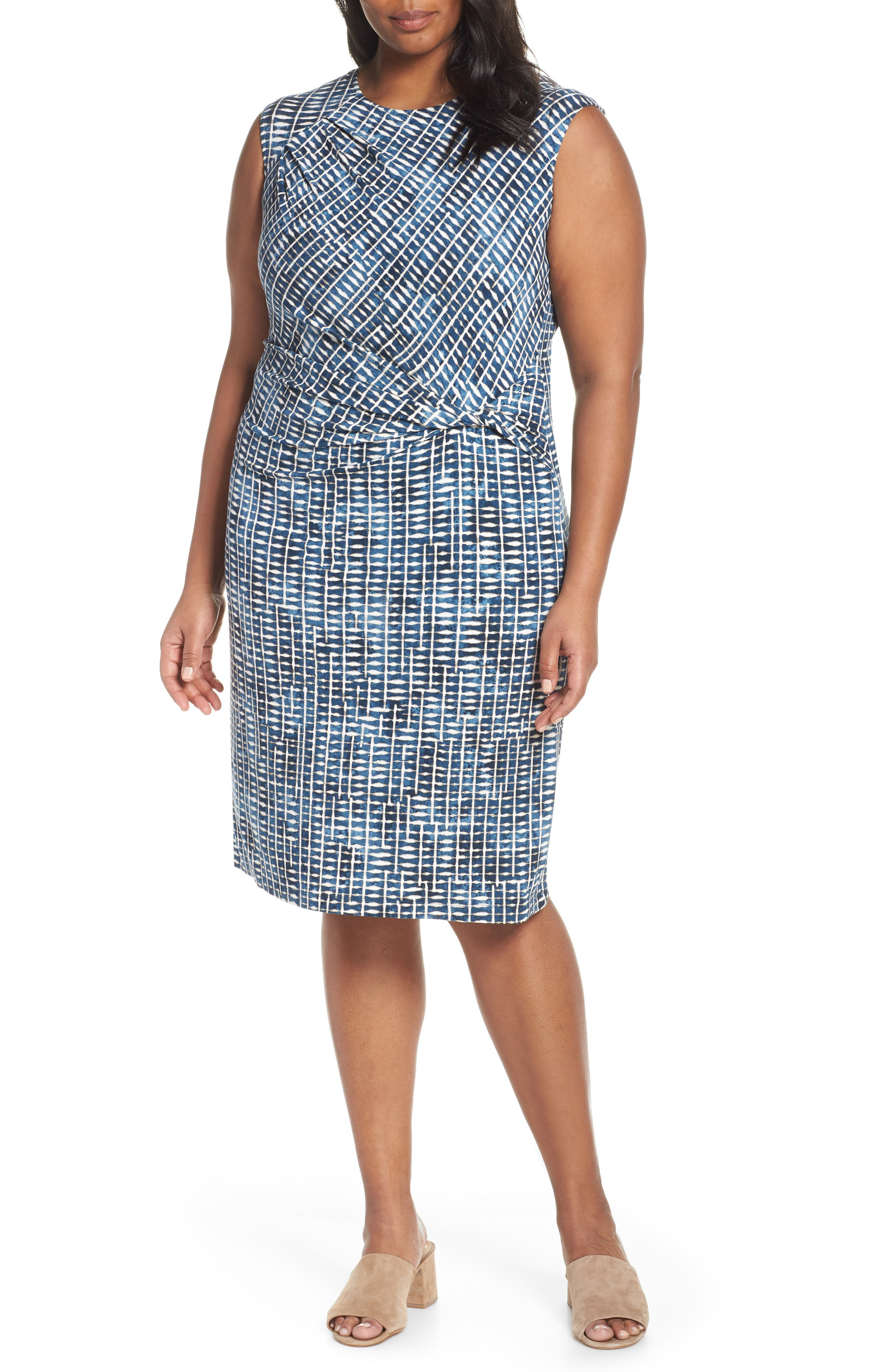 Plus Size Nic+Zoe Lattice Twist Front Sleeveless Dress, White