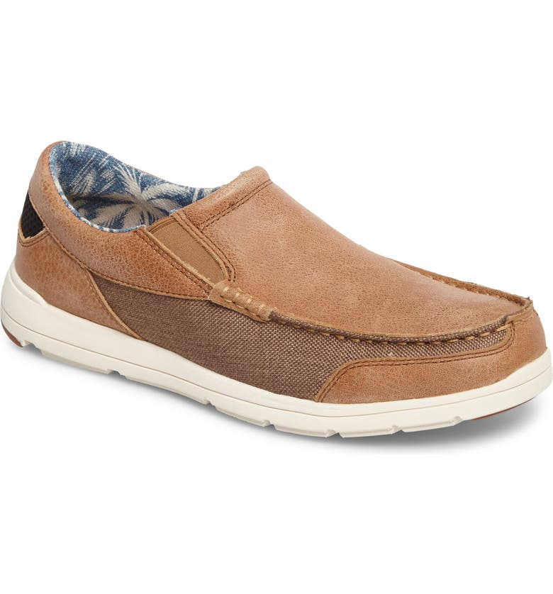 TOMMY BAHAMA Paradise Around Slip-On, Main, color, TAN LEATHER/ CANVAS
