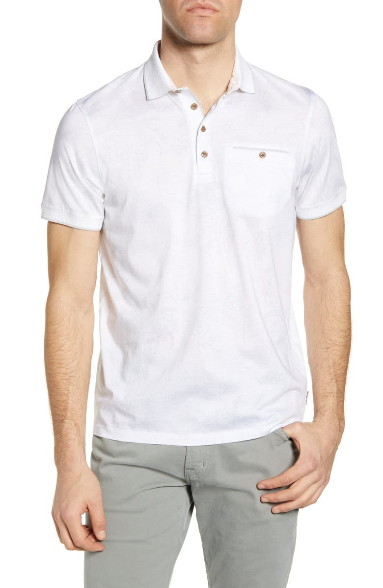 TED BAKER LONDON Teeleaf Slim Fit Polo, Main, color, WHITE