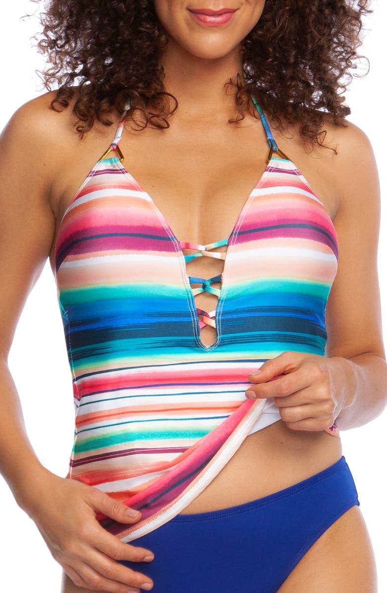 LA BLANCA Solar Stripe Halter Tankini Top, Main, color, MLT