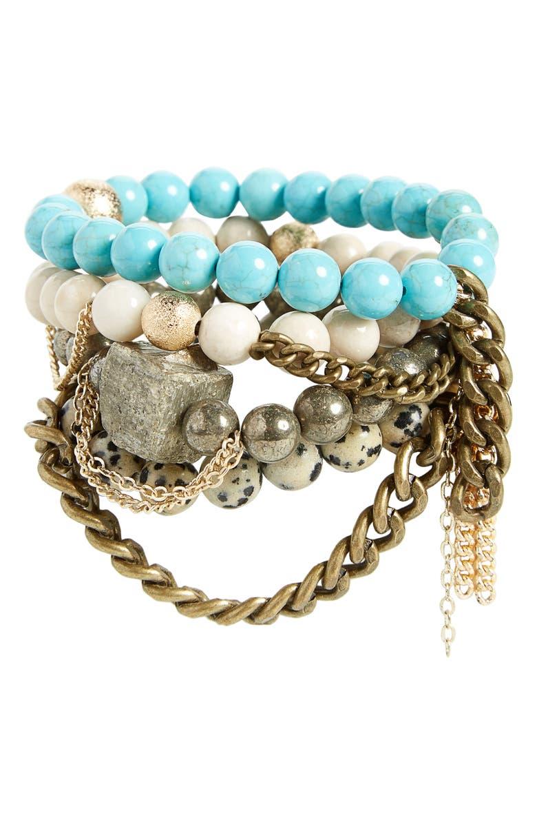 THE LACE PROJECT Set of 4 Bead Stretch Bracelets, Main, color, 440