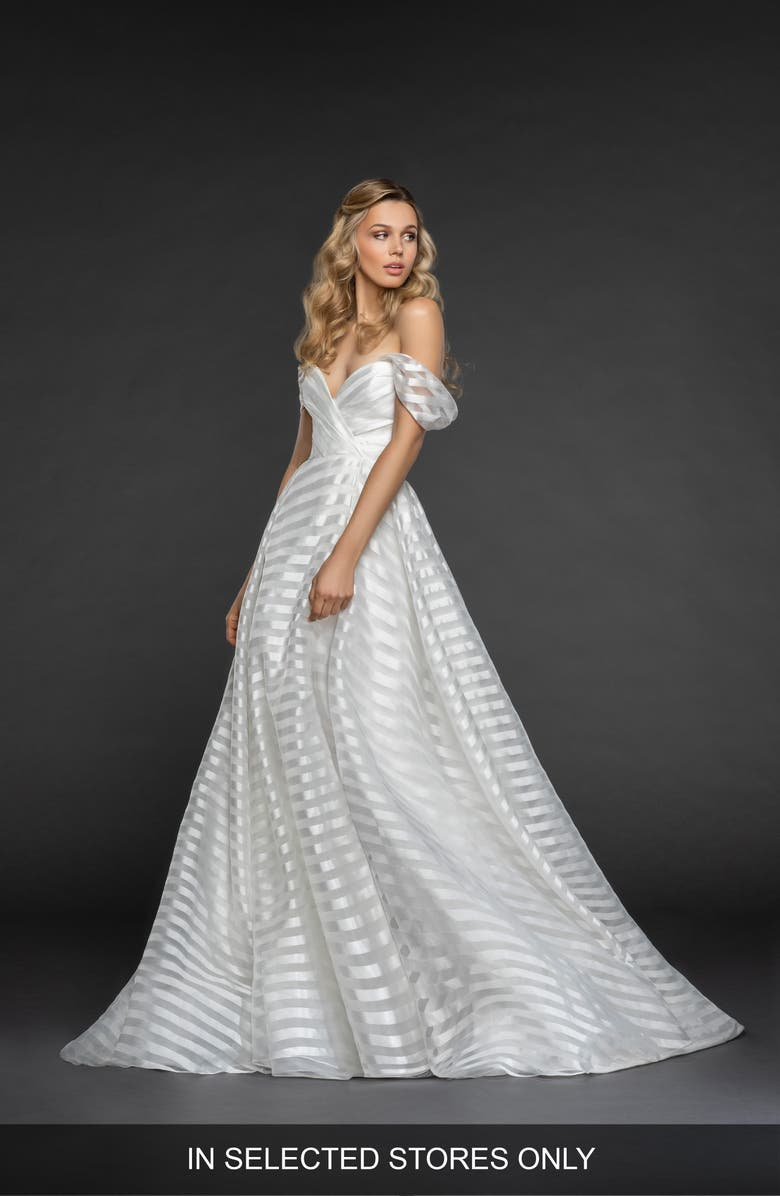 HAYLEY PAIGE Harley Stripe Off the Shoulder Organza Gown, Main, color, IVORY