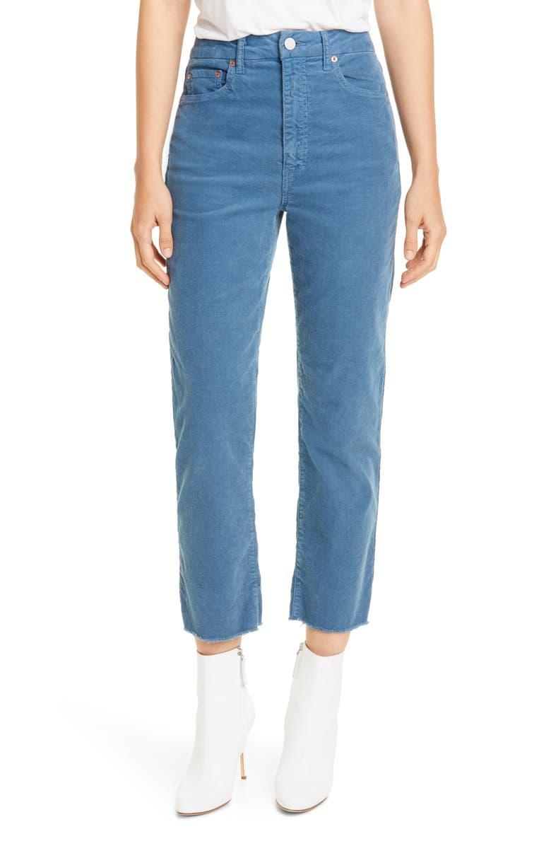 TRAVE Harper High Waist Ankle Corduroy Pants, Main, color, MISTY BLUE