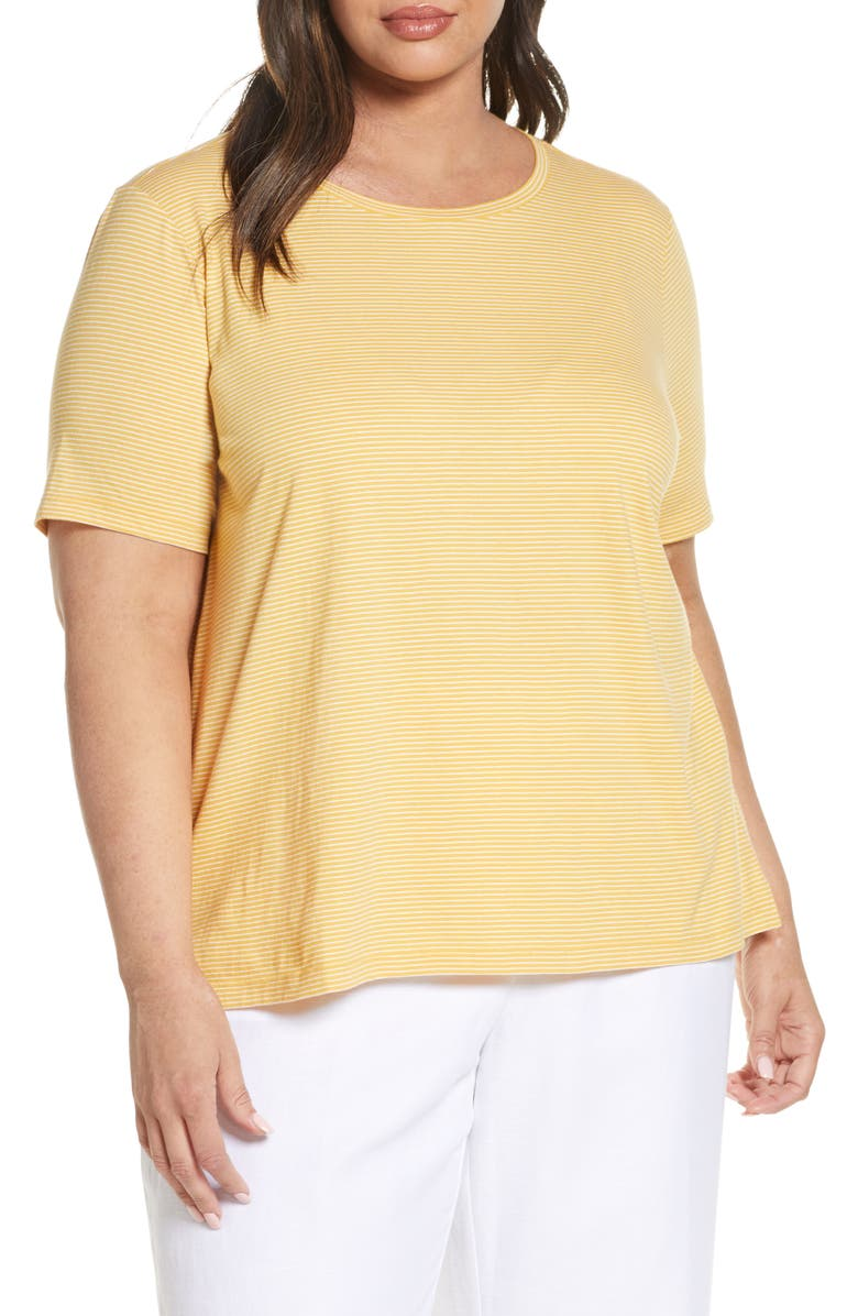 EILEEN FISHER Crewneck Short Sleeve Organic Cotton Jersey Top, Main, color, MARIGOLD