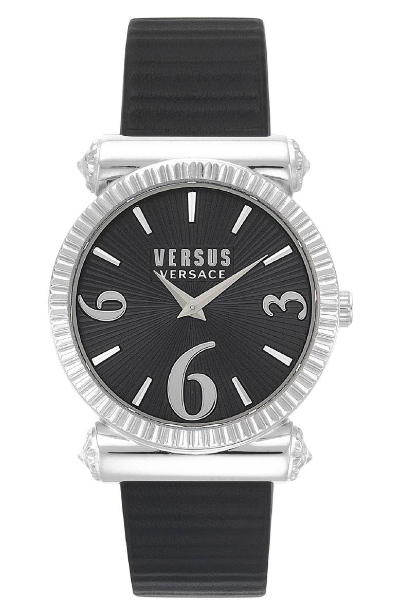 VERSUS VERSACE Republique Leather Strap Watch, 38mm, Main, color, 001