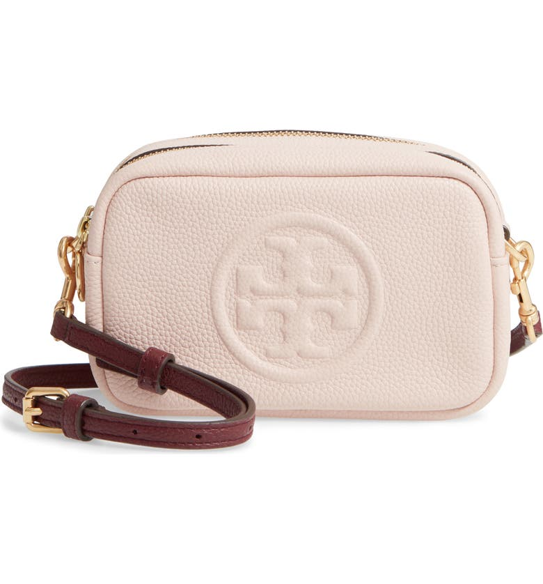 TORY BURCH Perry Bombe Leather Crossbody Bag, Main, color, SHELL PINK