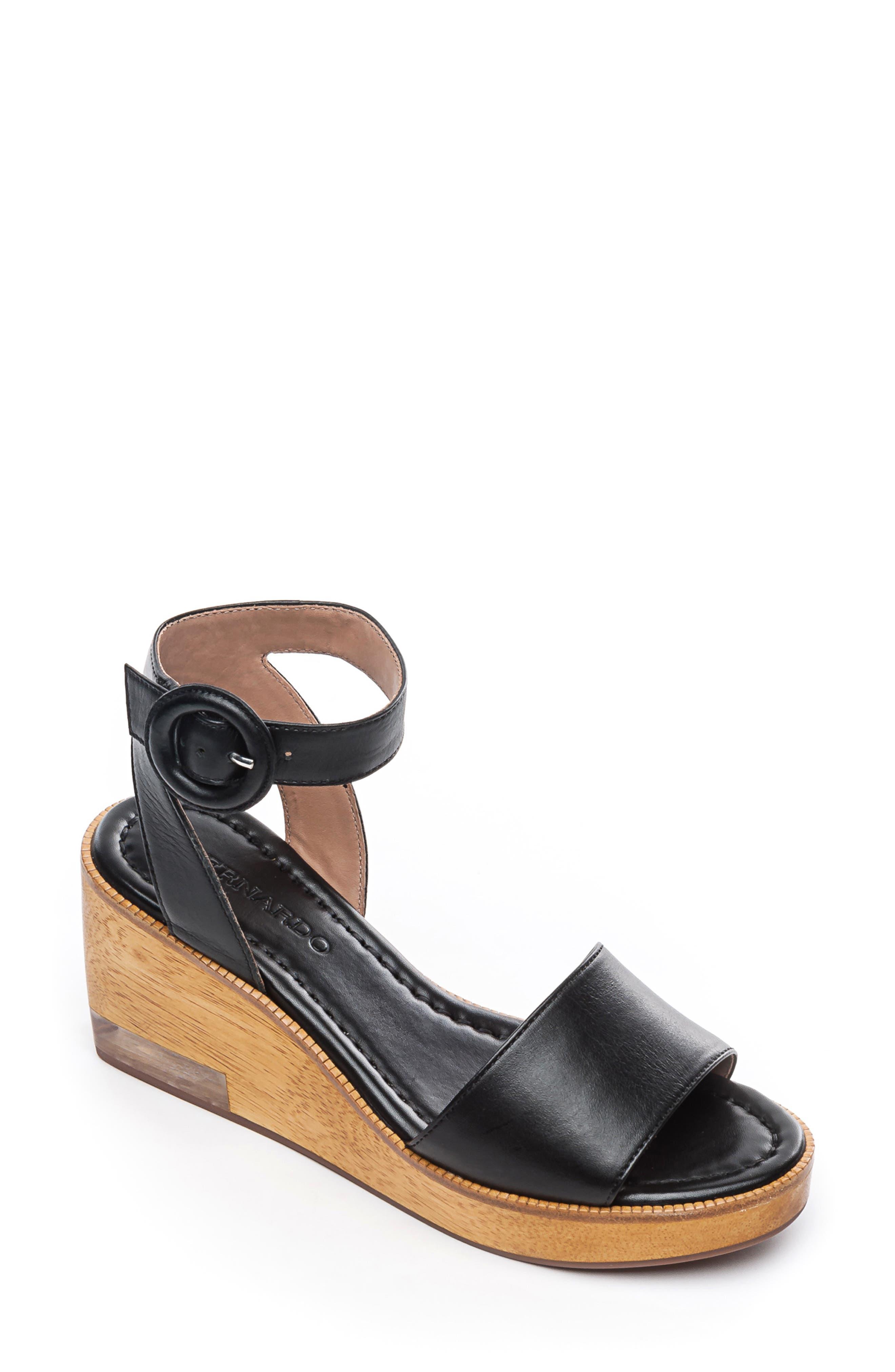 Bernardo Kate Platform Wedge Sandal, Black