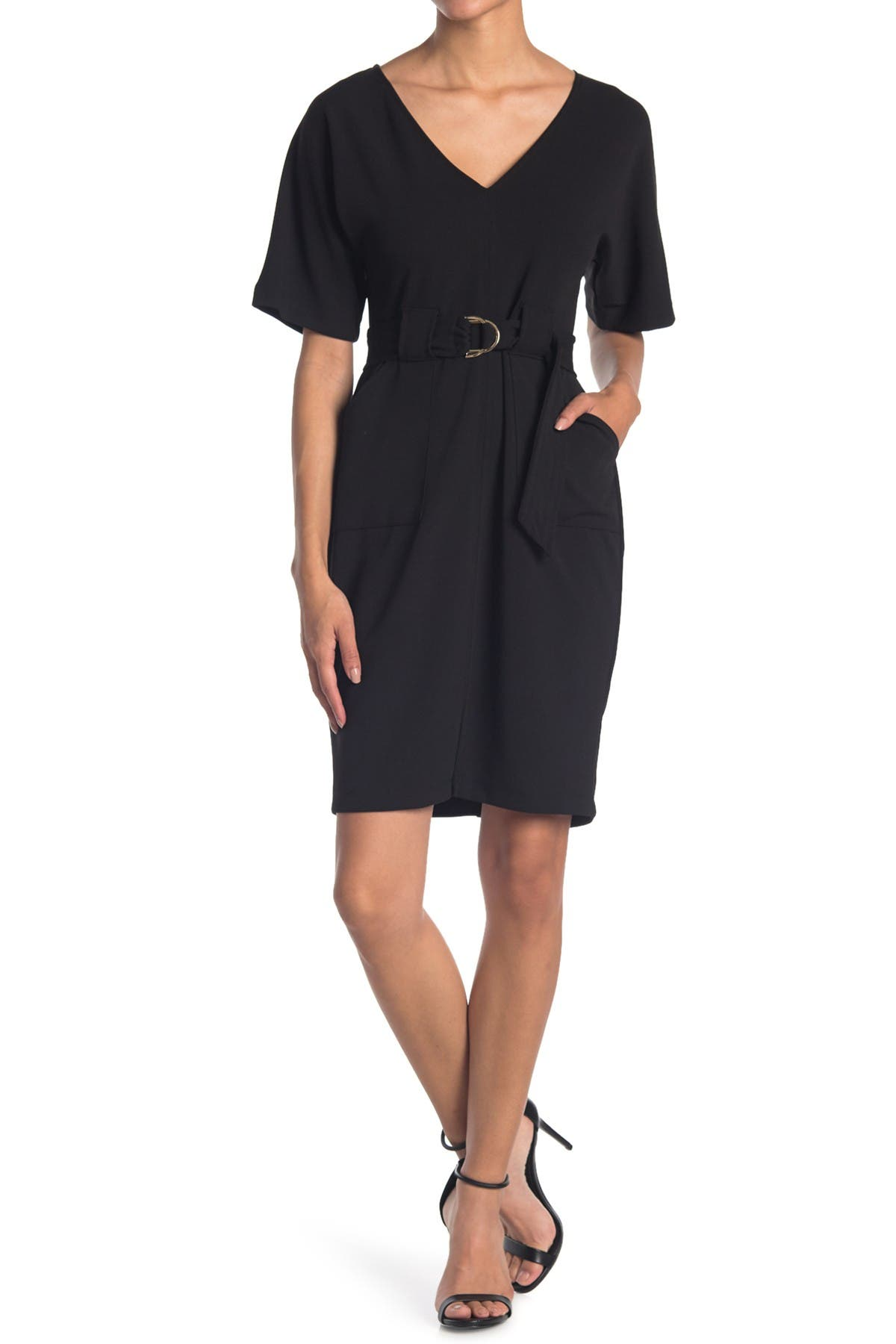 Image of TASH + SOPHIE V-Neck Belted Sheath Dress