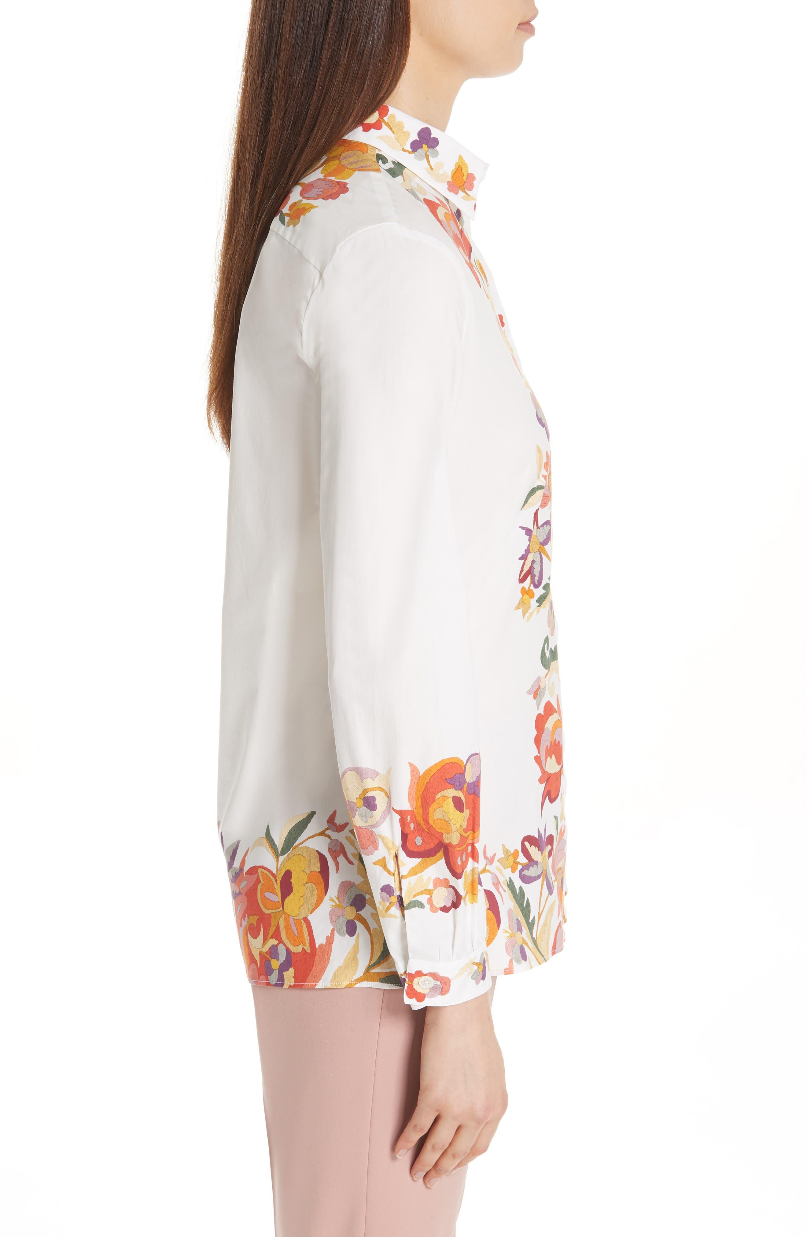 ,                             Floral Print Stretch Cotton Shirt,                             Alternate thumbnail 3, color,                             WHITE