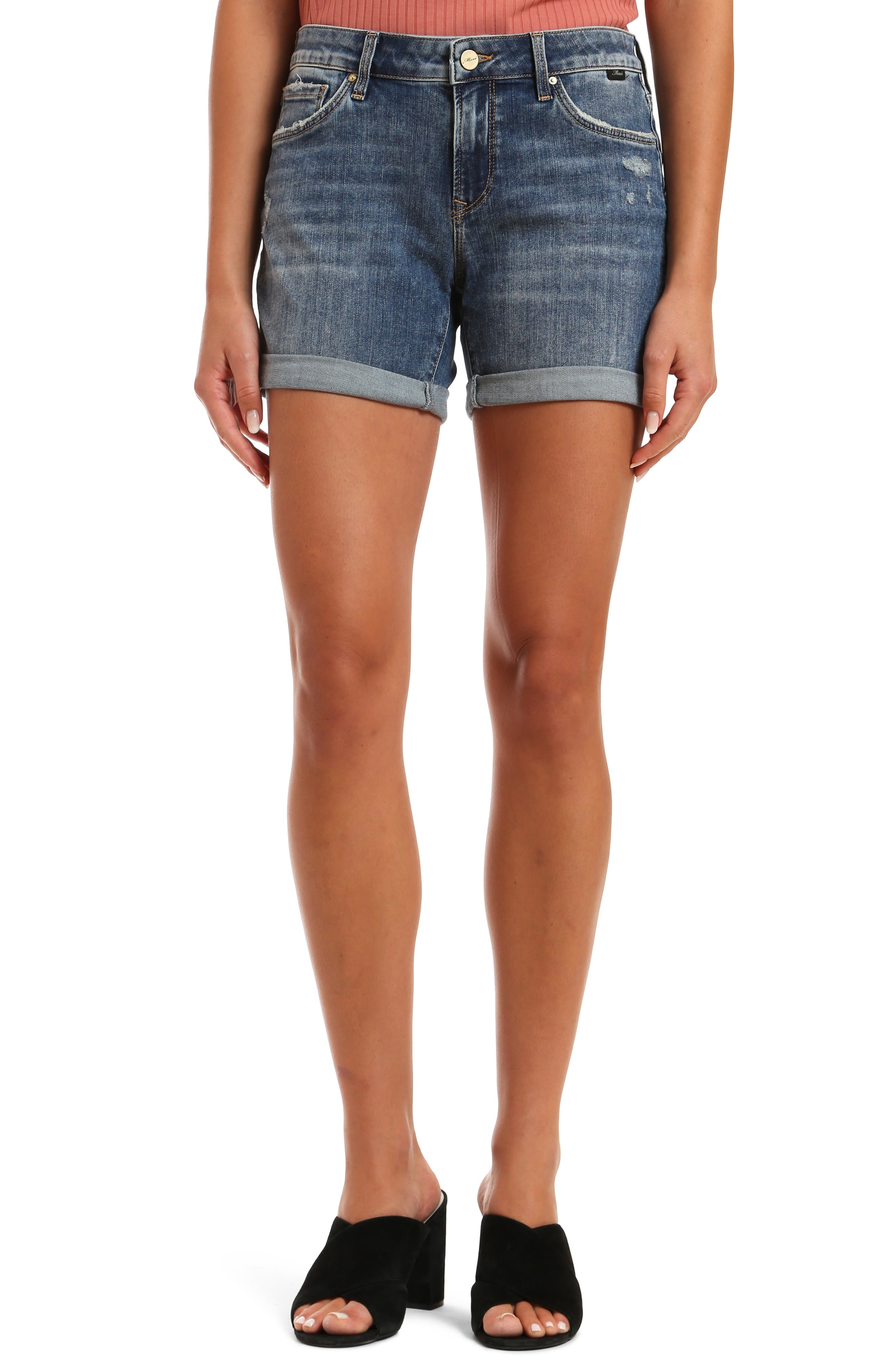 Cuffed denim shorts earn their casual cool status with dashes of destruction and a perfectly faded wash. Style Name: Mavi Jeans Pixie Rolled Hem Denim Shorts (Mid Ripped Vintage). Style Number: 5999168. Available in stores.