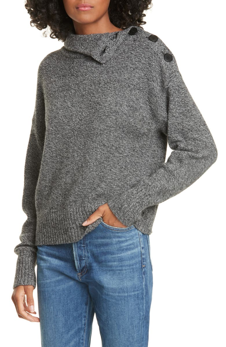 JUDITH & CHARLES Olivo Wool & Cashmere Sweater, Main, color, CHARCOAL