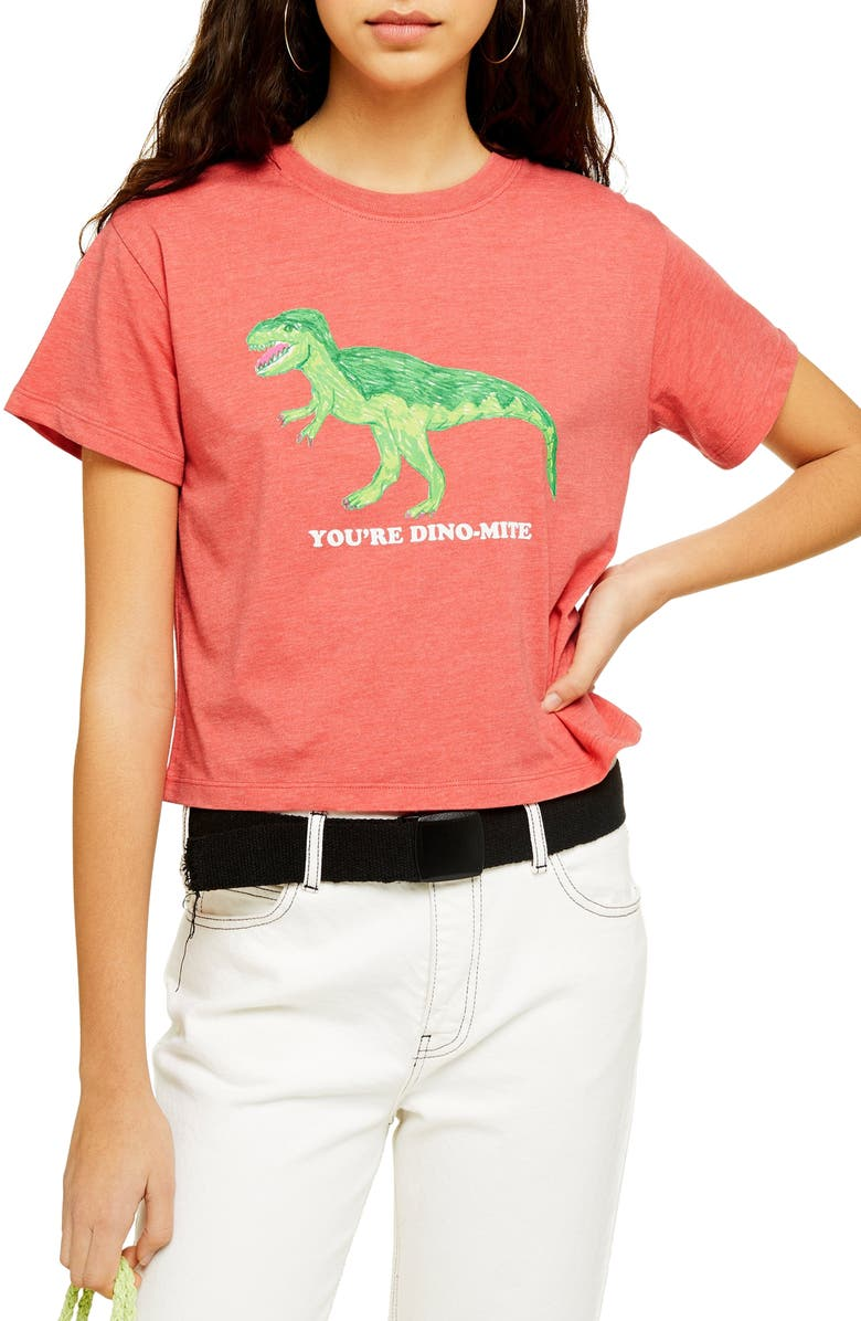 TOPSHOP By Tee & Cake Dinomite Tee, Main, color, CORAL MULTI