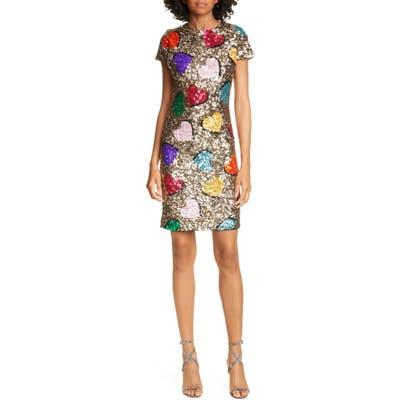 Alice + Olivia Nat Heart Sequin Minidress, Metallic