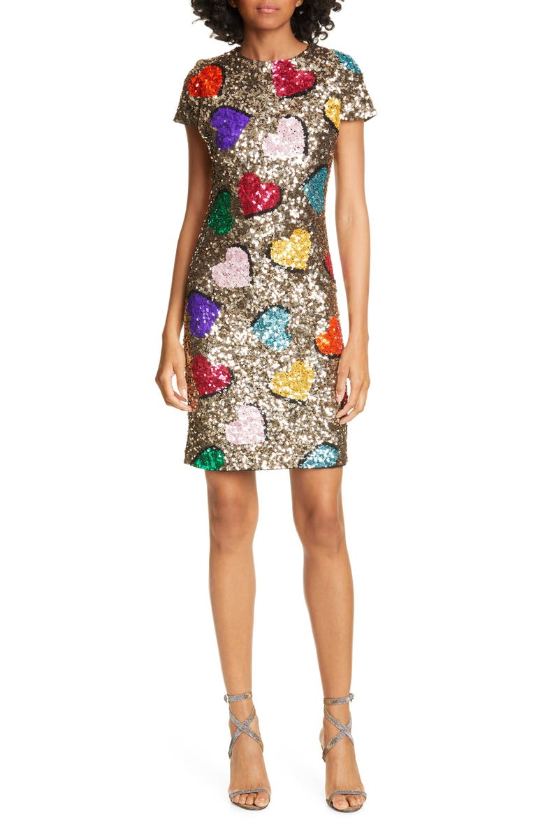 ALICE + OLIVIA Nat Heart Sequin Minidress, Main, color, SILVER MULTI