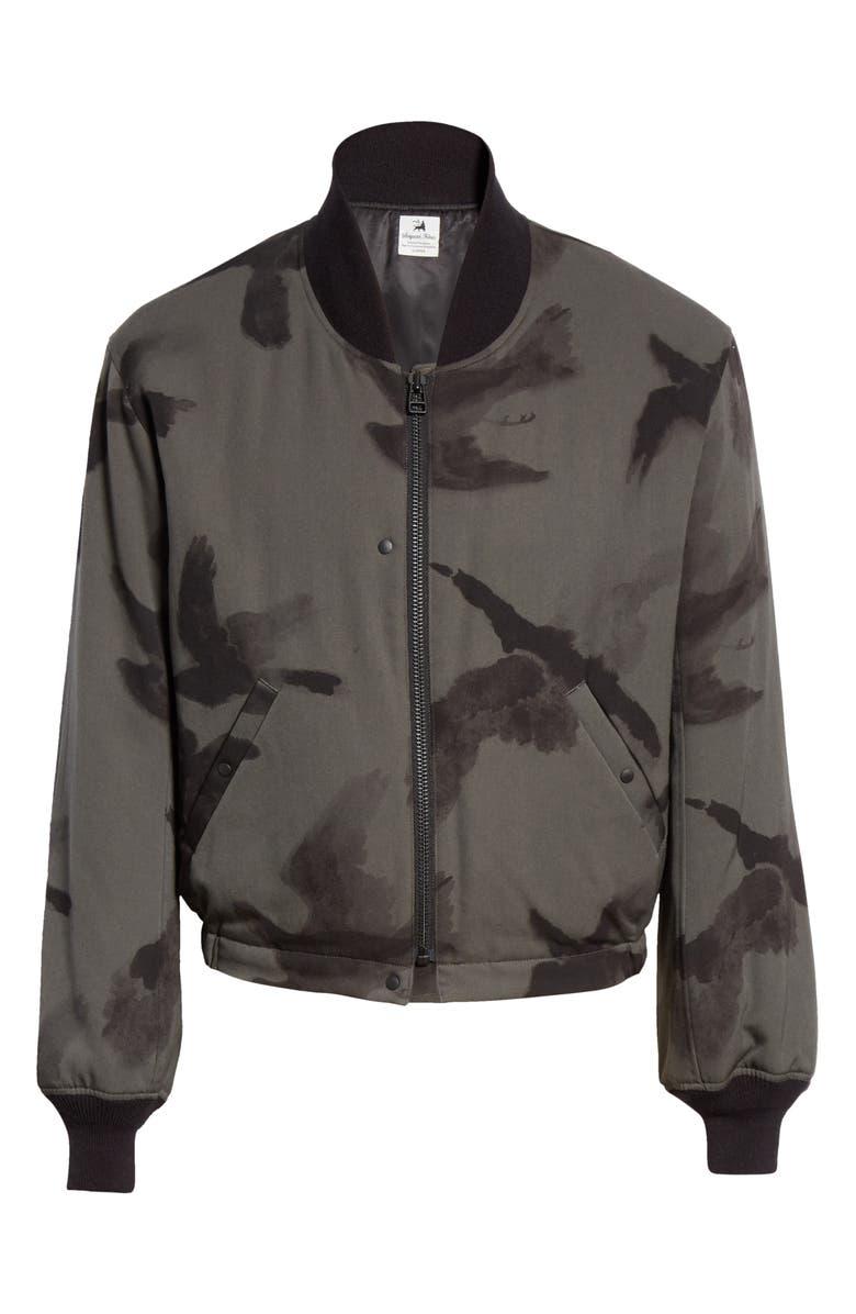 SASQUATCHFABRIX Crow Print Wool Bomber Jacket, Main, color, CHARCOAL