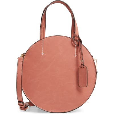 Sole Society Palermo Canteen Faux Leather Circle Crossbody Bag - Brown