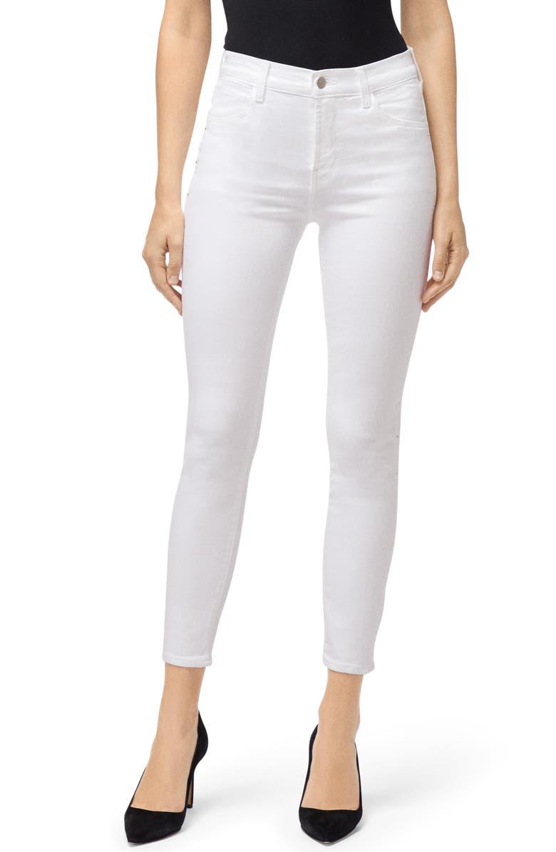 J BRAND High Waist Ankle Skinny Jeans, Main, color, WHITE KRYSTAL
