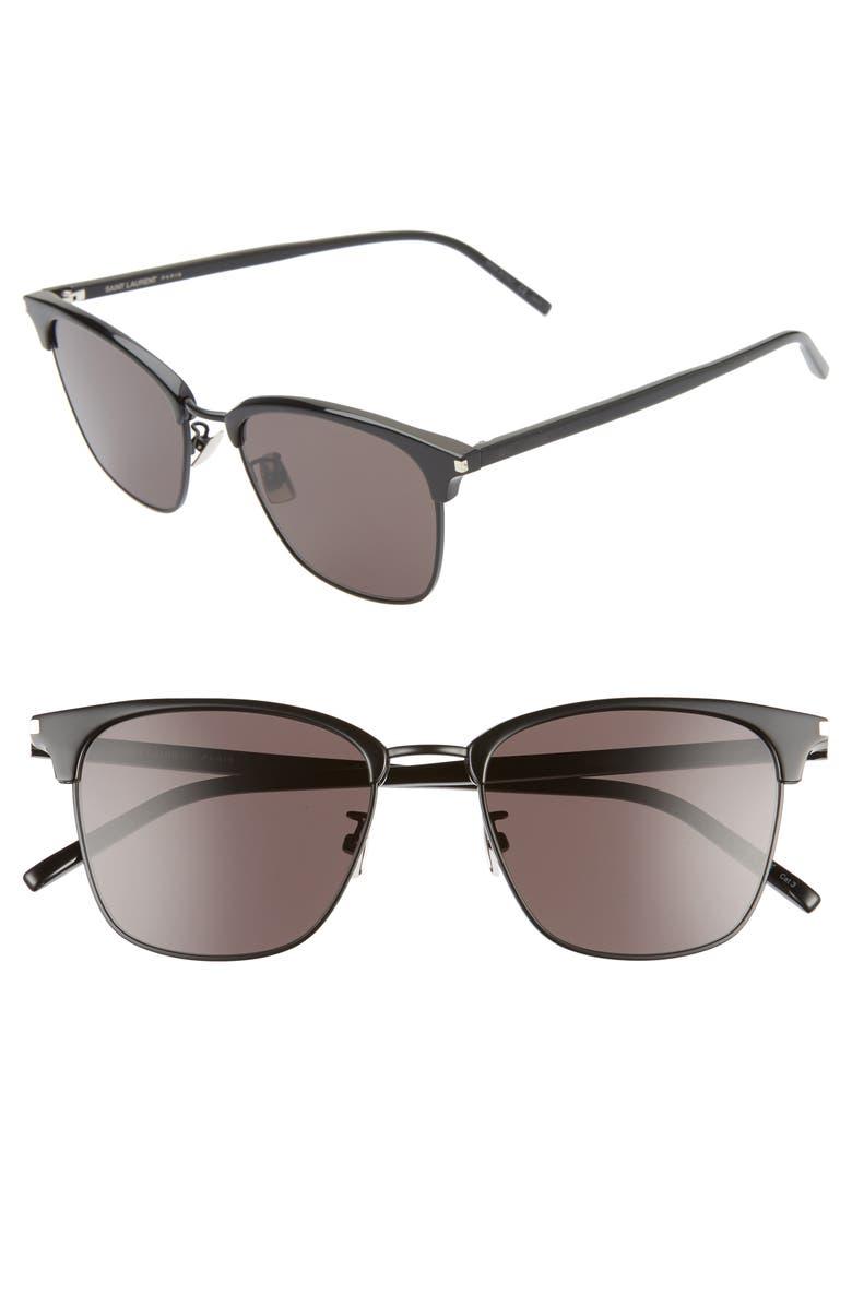 SAINT LAURENT 55mm Square Sunglasses, Main, color, DARK BLACK